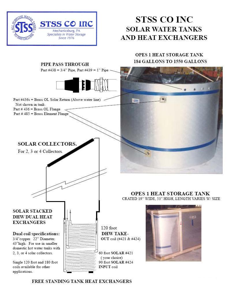 STSS Solar Tanks & Heat Exchangers Piping Diagram
